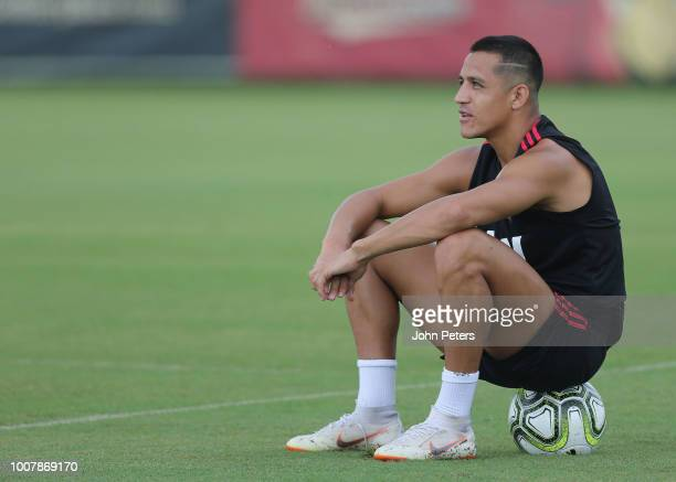 Alexis Sanchez of Manchester United in action during a training session as part of their preseason tour of the USA at Barry University on July 30...