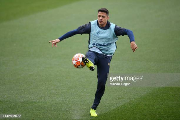 Alexis Sanchez of Manchester United in action during a training session ahead of their second leg in the UEFA Champions League Quarter Final match...