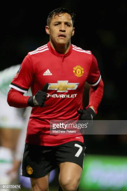 Alexis Sanchez of Manchester United in action during the Emirates FA Cup Fourth Round match between Yeovil Town and Manchester United at Huish Park...