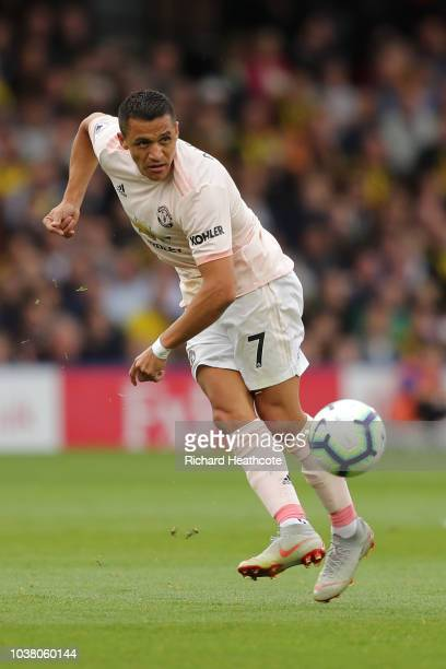 Alexis Sanchez of Manchester United in action during the Premier League match between Watford FC and Manchester United at Vicarage Road on September...