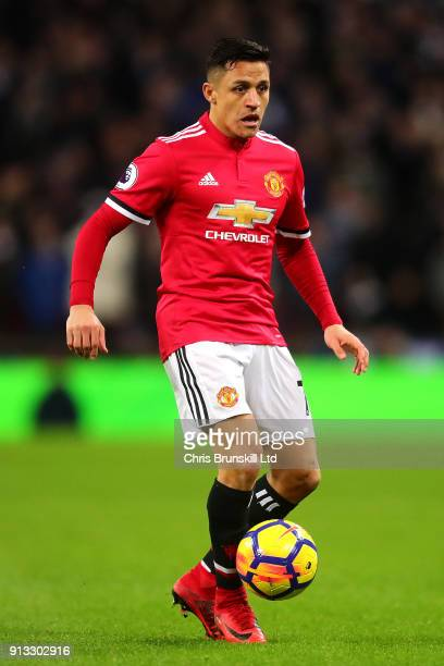 Alexis Sanchez of Manchester United in action during the Premier League match between Tottenham Hotspur and Manchester United at Wembley Stadium on...