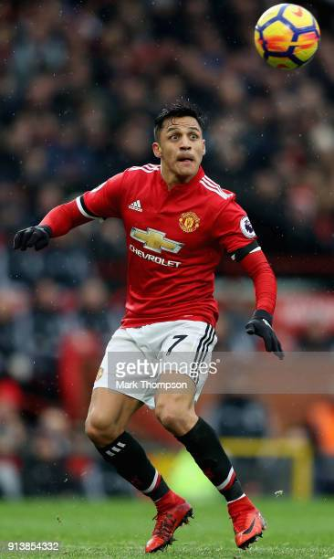 Alexis Sanchez of Manchester United in action during the Premier League match between Manchester United and Huddersfield Town at Old Trafford on...
