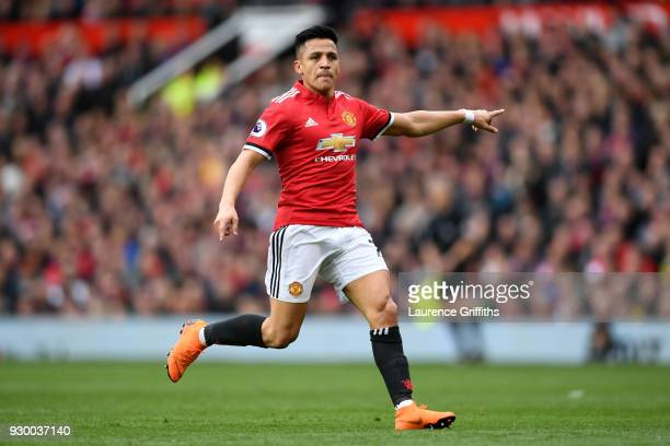 Alexis Sanchez of Manchester United in action during the Premier League match between Manchester United and Liverpool at Old Trafford on March 10...