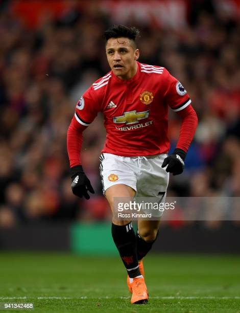 Alexis Sanchez of Manchester United in action during the Premier League match between Manchester United and Swansea City at Old Trafford on March 31...