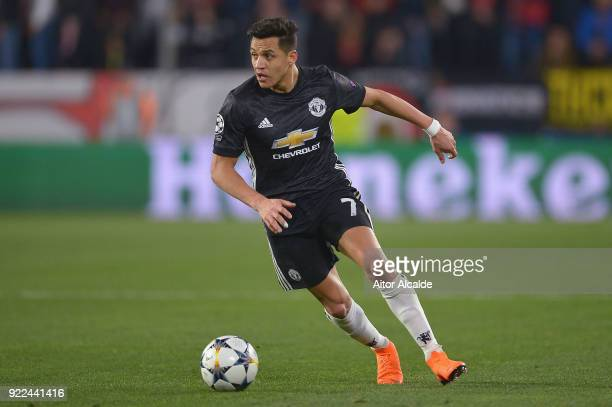 Alexis Sanchez of Manchester United in action during the UEFA Champions League Round of 16 First Leg match between Sevilla FC and Manchester United...