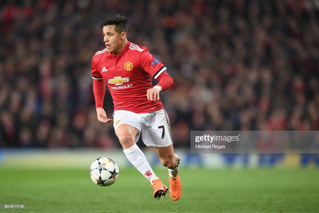 Alexis Sanchez of Manchester United in action during the UEFA Champions League Round of 16 Second Leg match between Manchester United and Sevilla FC at Old Trafford on March 13, 2018 in Manchester, United Kingdom.