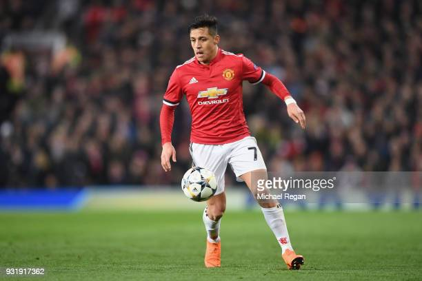 Alexis Sanchez of Manchester United in action during the UEFA Champions League Round of 16 Second Leg match between Manchester United and Sevilla FC...