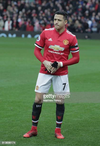 Alexis Sanchez of Manchester United lines up ahead of the Premier League match between Manchester United and Huddersfield Town at Old Trafford on...