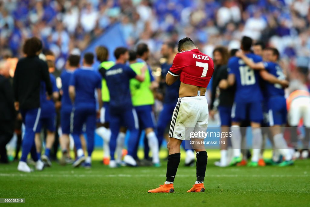 Alexis Sanchez of Manchester United looks dejected after the Emirates FA Cup Final between Chelsea and Manchester United at Wembley Stadium on May 19, 2018 in London, England.