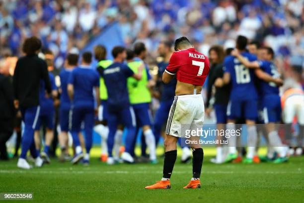 Alexis Sanchez of Manchester United looks dejected after the Emirates FA Cup Final between Chelsea and Manchester United at Wembley Stadium on May 19...