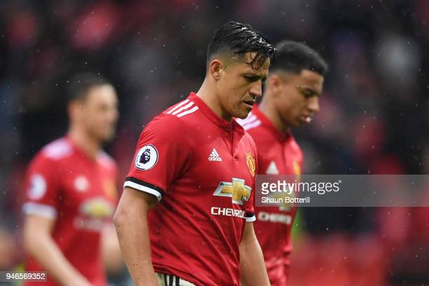 Alexis Sanchez of Manchester United looks dejected after the Premier League match between Manchester United and West Bromwich Albion at Old Trafford...