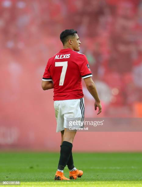Alexis Sanchez of Manchester United looks dejected following The Emirates FA Cup Final between Chelsea and Manchester United at Wembley Stadium on...