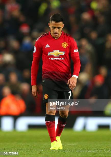 Alexis Sanchez of Manchester United looks dejected following the Premier League match between Manchester United and Crystal Palace at Old Trafford on...