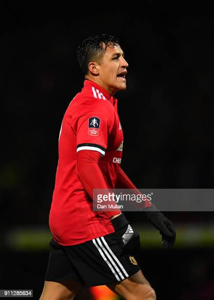 Alexis Sanchez of Manchester United looks during the Emirates FA Cup Fourth Round match between Yeovil Town and Manchester United at Huish Park on...