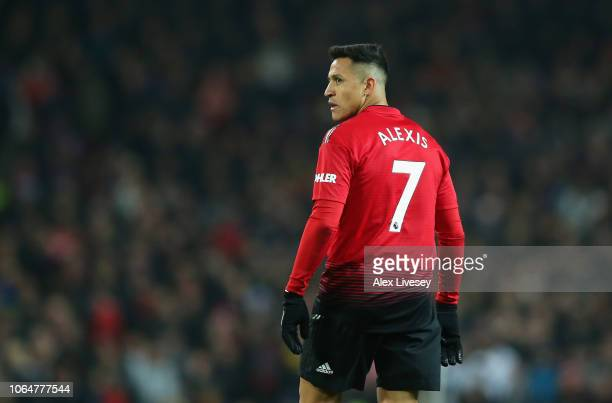 Alexis Sanchez of Manchester United looks on during the Premier League match between Manchester United and Crystal Palace at Old Trafford on November...
