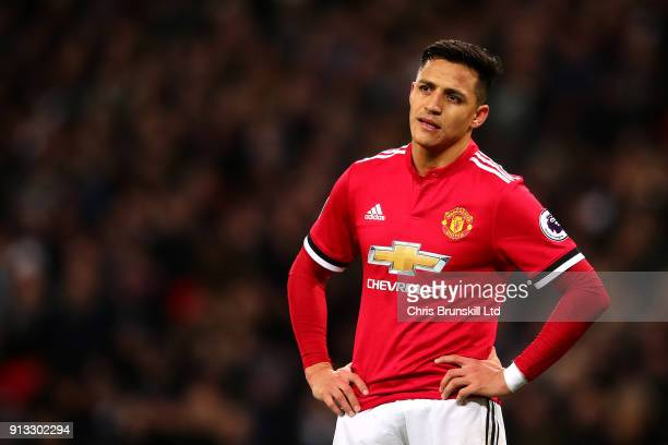 Alexis Sanchez of Manchester United looks on during the Premier League match between Tottenham Hotspur and Manchester United at Wembley Stadium on...