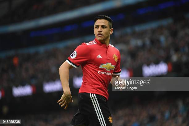 Alexis Sanchez of Manchester United looks on during the Premier League match between Manchester City and Manchester United at Etihad Stadium on April...