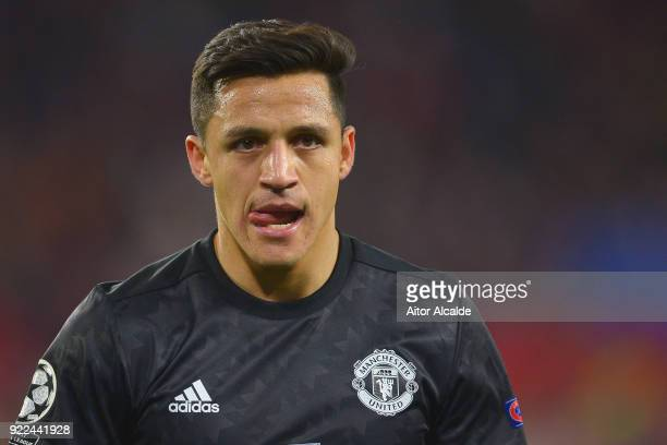 Alexis Sanchez of Manchester United looks on during the UEFA Champions League Round of 16 First Leg match between Sevilla FC and Manchester United at...