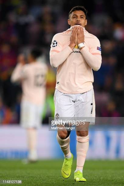 Alexis Sanchez of Manchester United reacts after the UEFA Champions League Quarter Final second leg match between FC Barcelona and Manchester United...