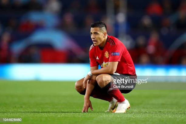 Alexis Sanchez of Manchester United reacts during the Group H match of the UEFA Champions League between Manchester United and Valencia at Old...