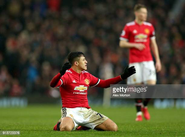 Alexis Sanchez of Manchester United reacts during the Premier League match between Manchester United and Huddersfield Town at Old Trafford on...