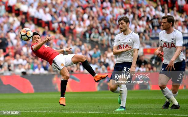 Alexis Sanchez of Manchester United scores his sides first goal during The Emirates FA Cup Semi Final match between Manchester United and Tottenham...
