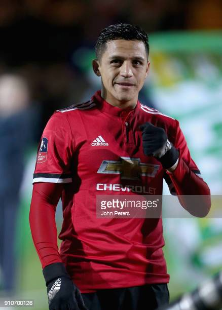 Alexis Sanchez of Manchester United walks out ahead of the Emirates FA Cup Fourth Round match between Yeovil Town and Manchester United at Huish Park...