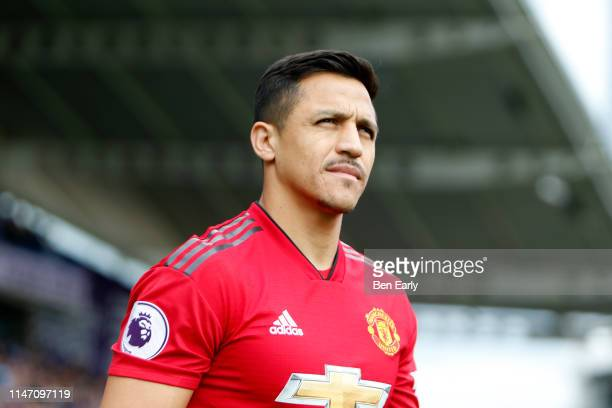Alexis Sanchez of Manchester United walks out for during the Premier League match between Huddersfield Town and Manchester United at John Smith's...