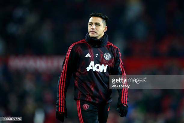 Alexis Sanchez of Manchester United warms prior to the Premier League match between Manchester United and Burnley at Old Trafford on January 29 2019...