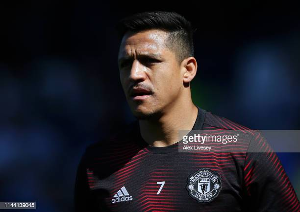 Alexis Sanchez of Manchester United warms up prior to the Premier League match between Everton FC and Manchester United at Goodison Park on April 21,...