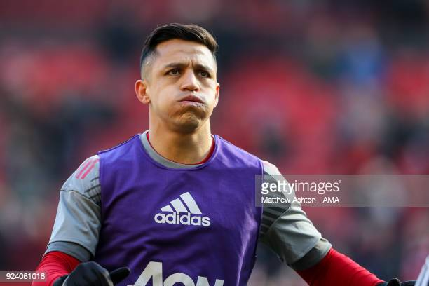 Alexis Sanchez of Manchester United was up prior to the Premier League match between Manchester United and Chelsea at Old Trafford on February 25...
