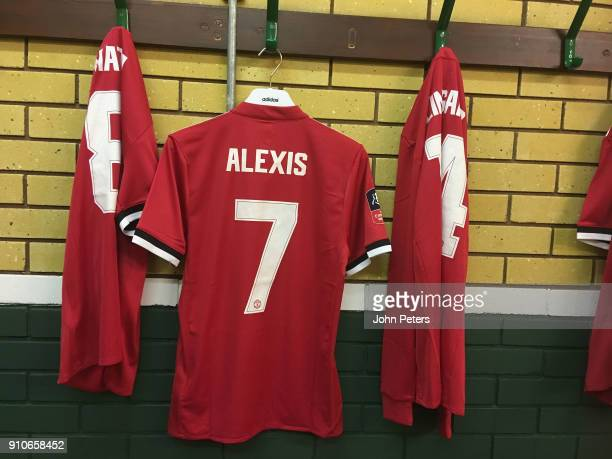 Alexis Sanchez of Manchester United's shirt hangs up in the dressing room ahead of the Emirates FA Cup Fourth Round match between Yeovil Town and...