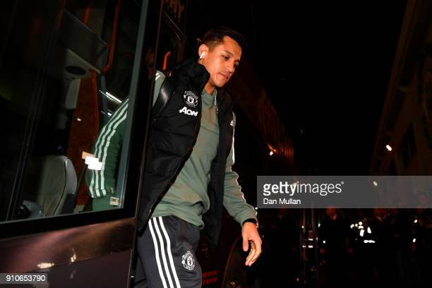 Alexis Sanchez of of Manchester United arrives for The Emirates FA Cup Fourth Round match between Yeovil Town and Manchester United at Huish Park on...