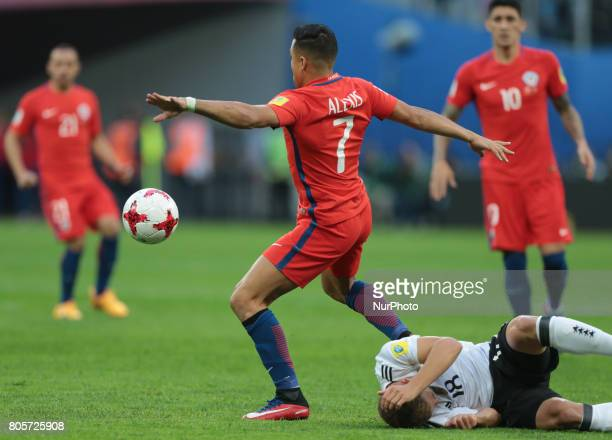 Alexis Sanchez of the Chile national football team and Joshua Kimmich of the Germany national football team vie for the ball during the 2017 FIFA...