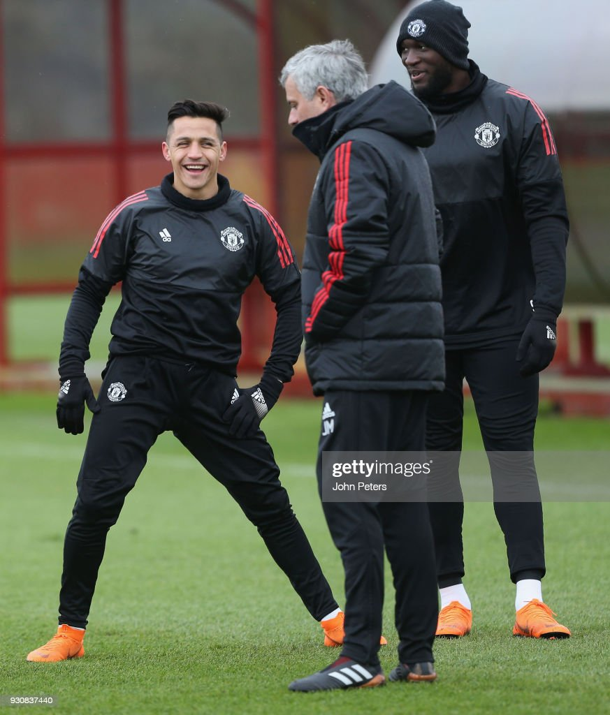 Alexis Sanchez, Romelu Lukaku and Manager Jose Mourinho of Manchester United in action during a first team training session at Aon Training Complex on March 12, 2018 in Manchester, England.