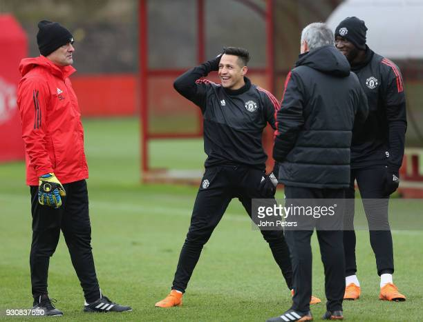 Alexis Sanchez Romelu Lukaku and Manager Jose Mourinho of Manchester United in action during a first team training session at Aon Training Complex on...