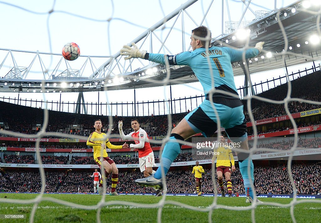 Alexis Sanchez scores Arsenal's 2nd goal past Tom Heaton of Burnley during the match between Arsenal and Burnley in the FA Cup 4th round at Emirates Stadium on January 30, 2016 in London, England.