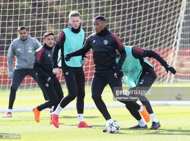 Alexis Sanchez Scott McTominay and Anthony Martial of Manchester United in action during a first team training session at Aon Training Complex on...