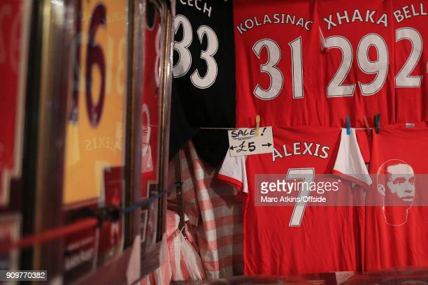 Alexis Sanchez shirts are seen on sale after his transfer from Arsenal to Manchester United prior to the Carabao Cup SemiFinal 2nd leg match between...