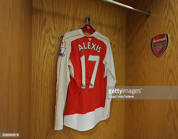Alexis Sanchez's shirt hangs in the Arsenla changing room before the Barclays Premier League match between Arsenal and Chelsea at Emirates Stadium on...