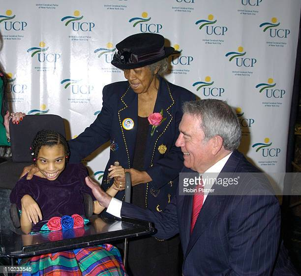 Alexis Simpkins her grandmother and Dan Rather during United Cerebral Palsy Fourth Annual 'Women Who Care' Luncheon at Ciprianis 42nd Street in New...