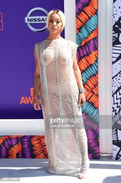 Alexis Sky poses upon arrival for the BET Awards at Microsoft Theatre in Los Angeles California on June 24 2018