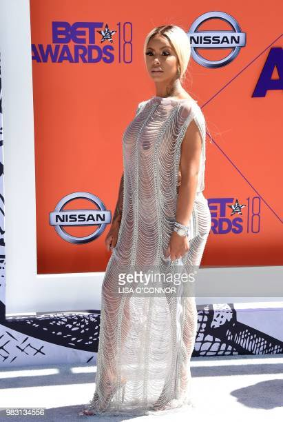 Alexis Skyy poses upon arrival for the BET Awards at Microsoft Theatre in Los Angeles California on June 24 2018