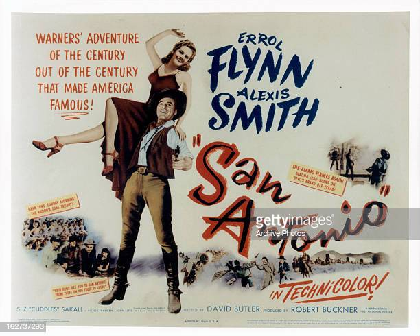 Alexis Smith and Errol Flynn movie art for the film 'San Antonio' 1945