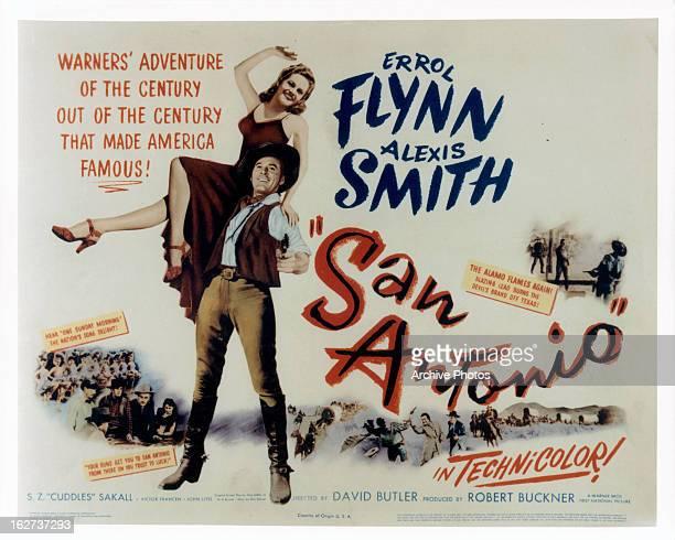 Alexis Smith and Errol Flynn movie art for the film 'San Antonio', 1945.