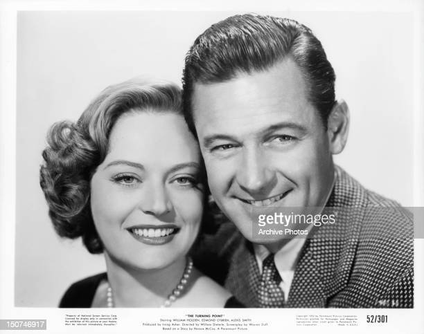 Alexis Smith and William Holden publicity portrait for the film 'The Turning Point' 1952