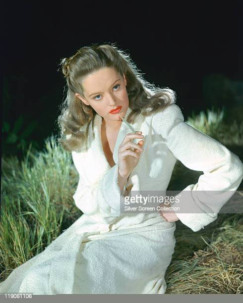 Alexis Smith Canadian actress weaing a white towelling dressing gown in a publicity image for the film 'The Constant Nymph' circa 1943 The 1943...