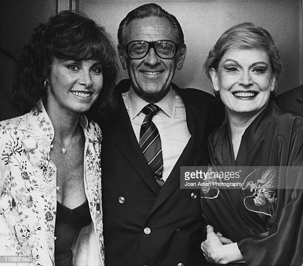 Alexis Smith is visited by Stephanie Powers and William Holden in Smith's dressing room after her opening night performance of The Best Little...