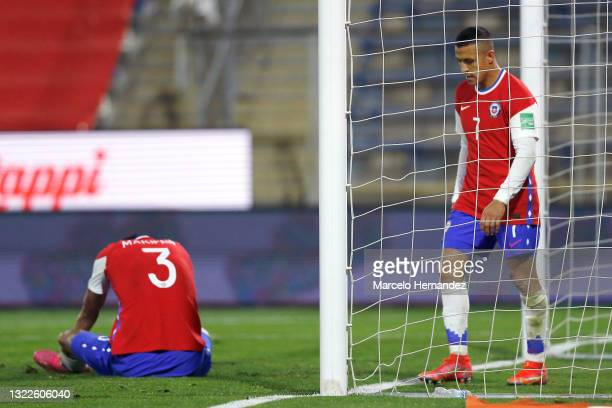 Alexis Sánchez and Guillermo Maripán of Chile look dejected after a match between Chile and Bolivia as part of South American Qualifiers for Qatar...