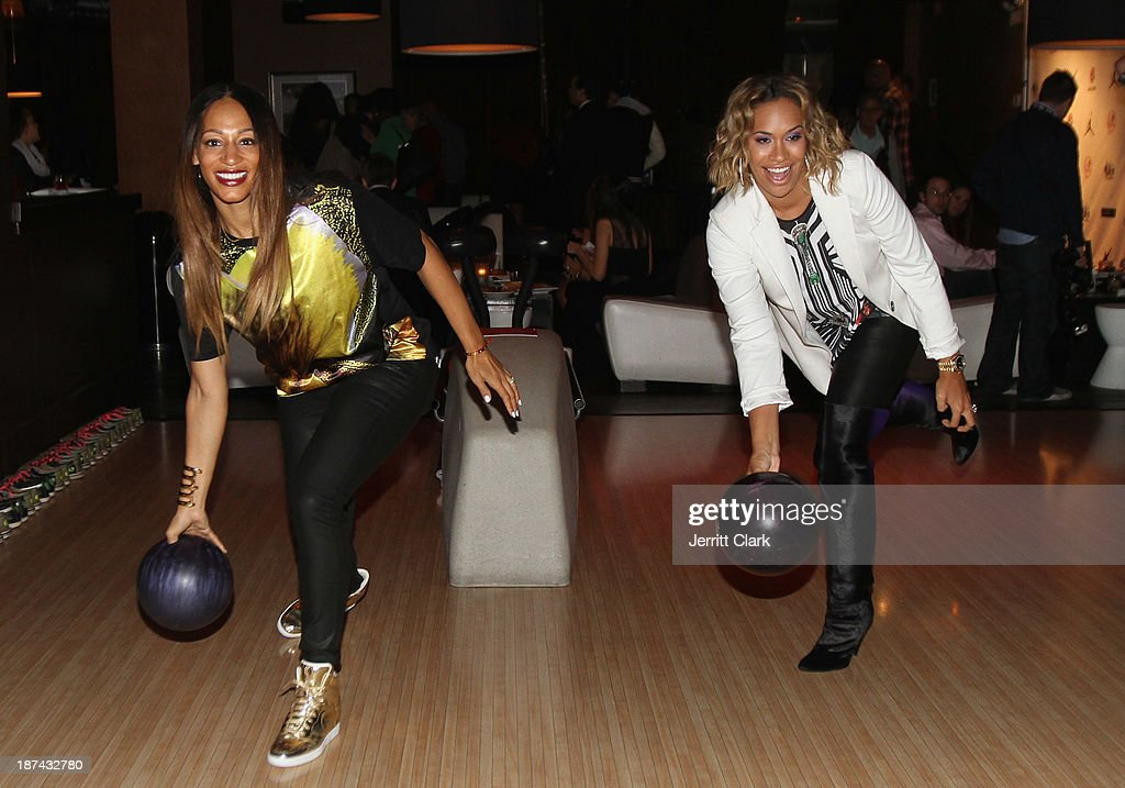 Alexis Stoudemire and Amber Sabathia bowl at the PitCCh In Foundation 2013 Challenge Rules Party at Luxe at Lucky Strike Lanes on November 8, 2013 in New York City.